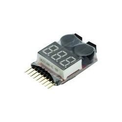 LiPo-Checker 1-8S i krympplast justerbar